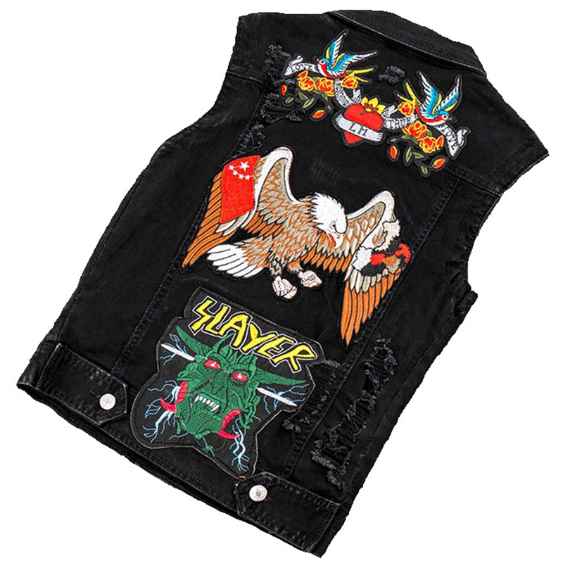 Jeans brodés gilet hommes Denim gilet Patchwork hommes été sans manches vestes Punk Rock Biker Animal fleur Appliques Hiphop
