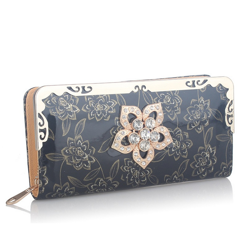 New Fashion PU Leather Women Wallet Flower Wallets Ladies' Long Clutches With Coin Purse Card Holder Female Black Purse WM309Z