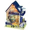 Бесплатная Доставка Сборка DIY Миниатюрный Комплект Модель Деревянный Дом Куклы Дом Игрушки с Мебелью
