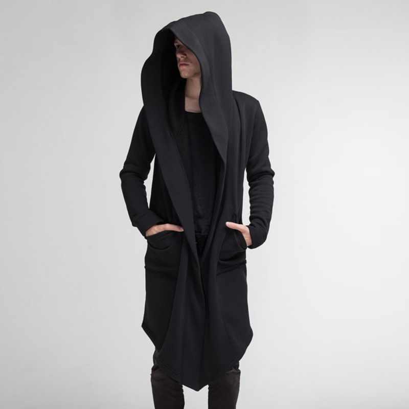 Litthing 2019 フード付きスウェットメンズ黒ヒップホップマントルパーカーファッションジャケット長袖マント男のコート生き抜くホット販売