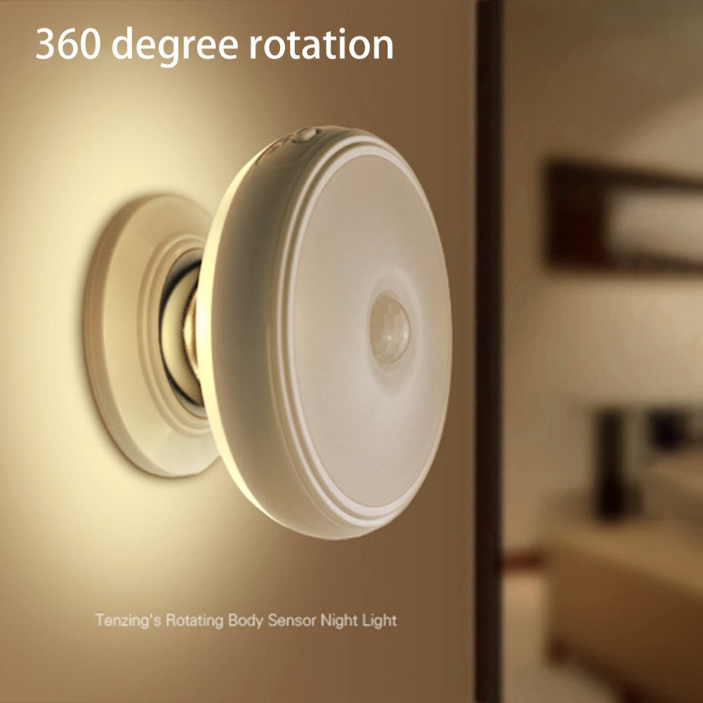 360 Degrees Rotation Night Lamp Battery Powered Human Motion Sensor + Light Control Nigh ...