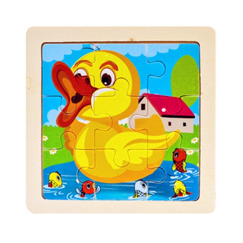 Мини Размер 11*11 см детская игрушка деревянная головоломка деревянная 3D головоломка для детей Детские Мультяшные животные/дорожные Пазлы обучающая игрушка - Цвет: Коричневый