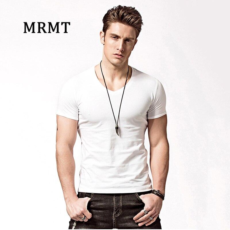 MRMT 2018 Brand Mens Lycra Cotton Short Sleeve   T  -  Shirt   Pure Color V-Neck Men   T     Shirt   For Male Casual Short Sleeve Tshirt