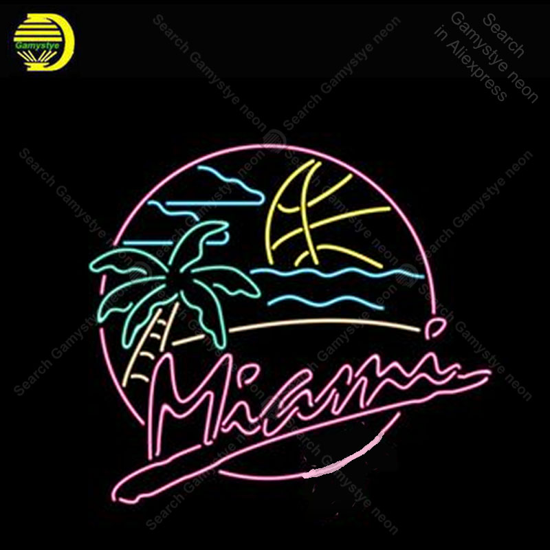 Neon Sign Miami Heat Beach Party palm Neon Bulb sign handcraft Beer Restaurant Decorate room vintage neon light anuncio luminos