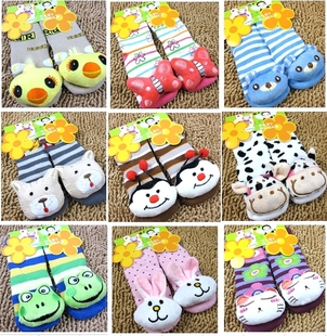 Cartoon Animal Style Baby Rattle Baby Toy Foot Finder Socks Cotton