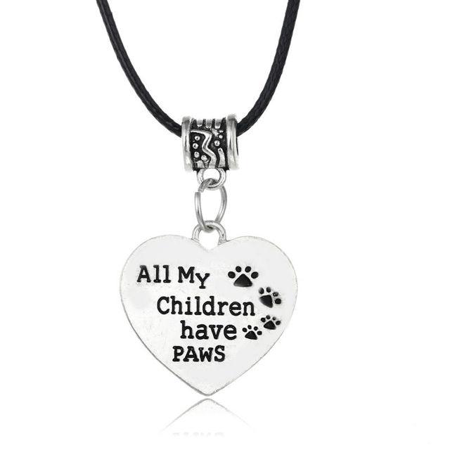 1b822e7ca598 Todos mis hijos tienen patas perro corazón colgante collar plata plateada  Cadena de cuero gargantilla para