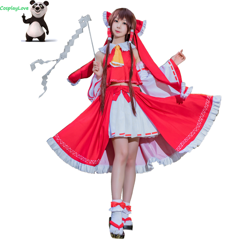 CosplayLove TouHou Project Hakurei Reimu Cosplay Costume Red Dress For Girls Women Christmas Halloween