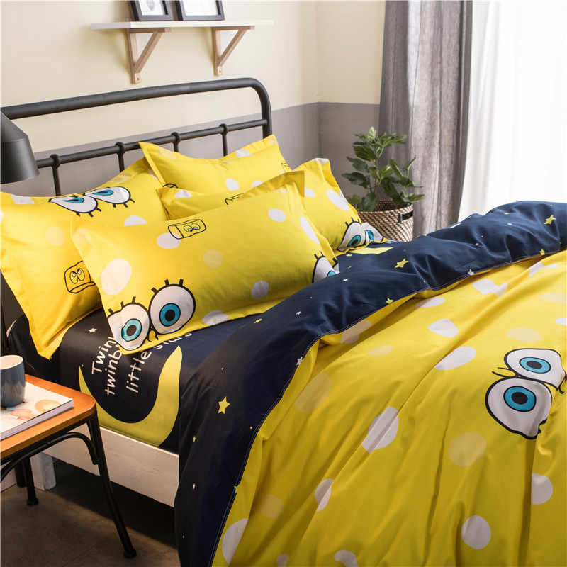 d1d8612791cd ... Home Textile Cartoon Yellow Big Eye Bedding Set High Quality Cotton Bed  Linen 3 4pcs ...