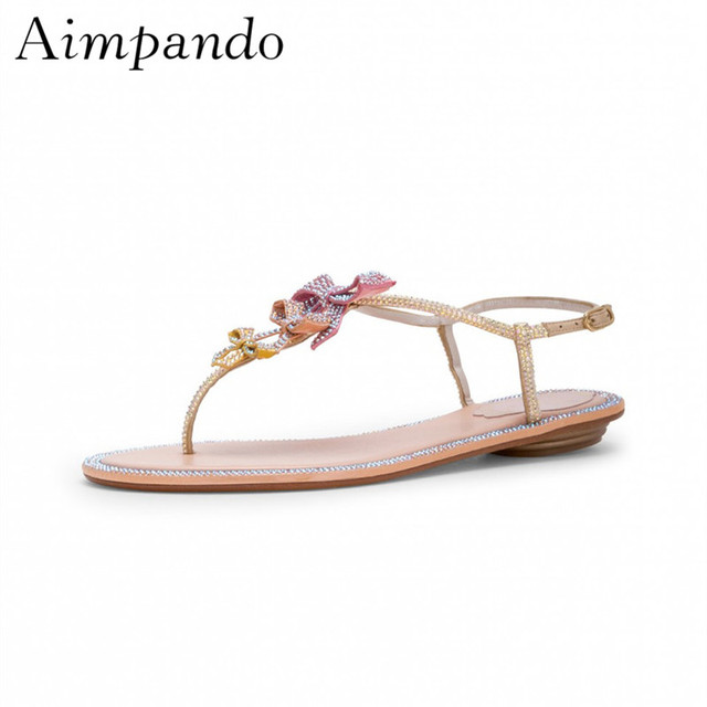 4072b317e Sweet Crystal Pansy Flip Flops Back Strap Flat Shoes Woman New Summer  Jewelled Sandals Women