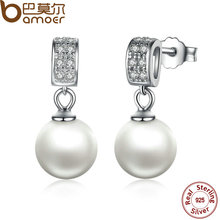 BAMOER Drop Earrings Fine Jewelry Female Drop Earrings Jewelry with Pearls Earrings 925 Sterling Silver Jewelry SCE006