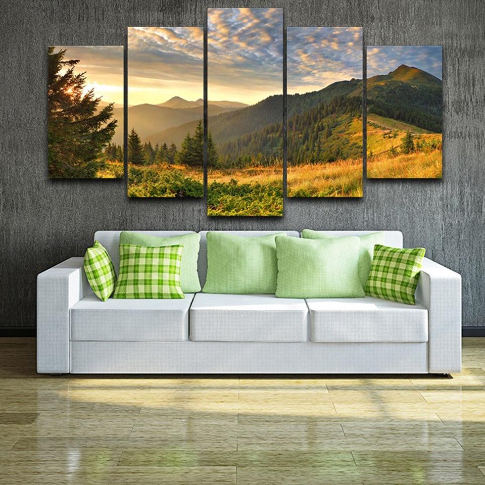HD печать картина холст домашний Декор 5 шт. закат горы облака Зеленый Природа Пейзаж Плакат модульная настенная художественная рамка|Рисование и каллиграфия| | - AliExpress