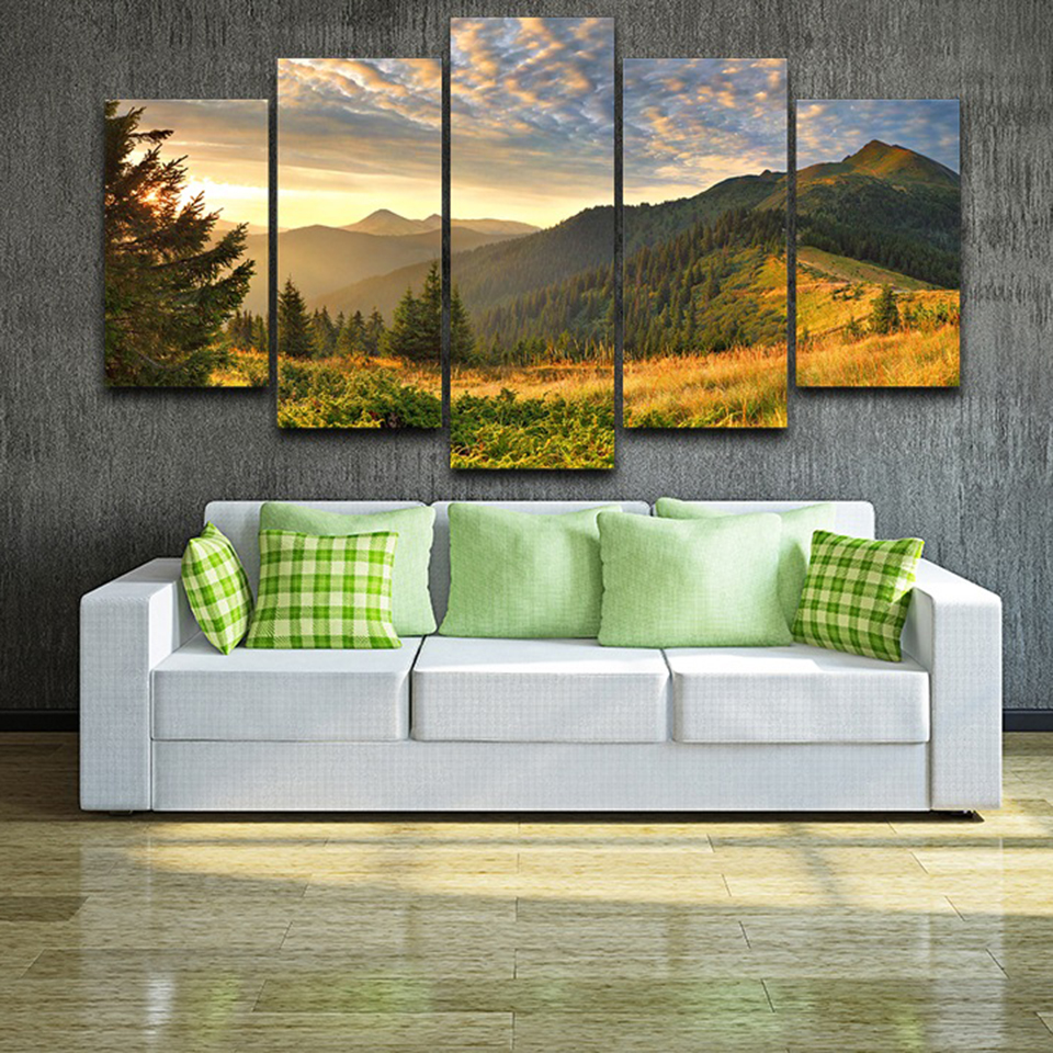 HD Print Painting Canvas Home Decor 5 Piece Sunset Mountain Clouds Green Nature Landscape Poster Modular Wall Art Pictures Frame