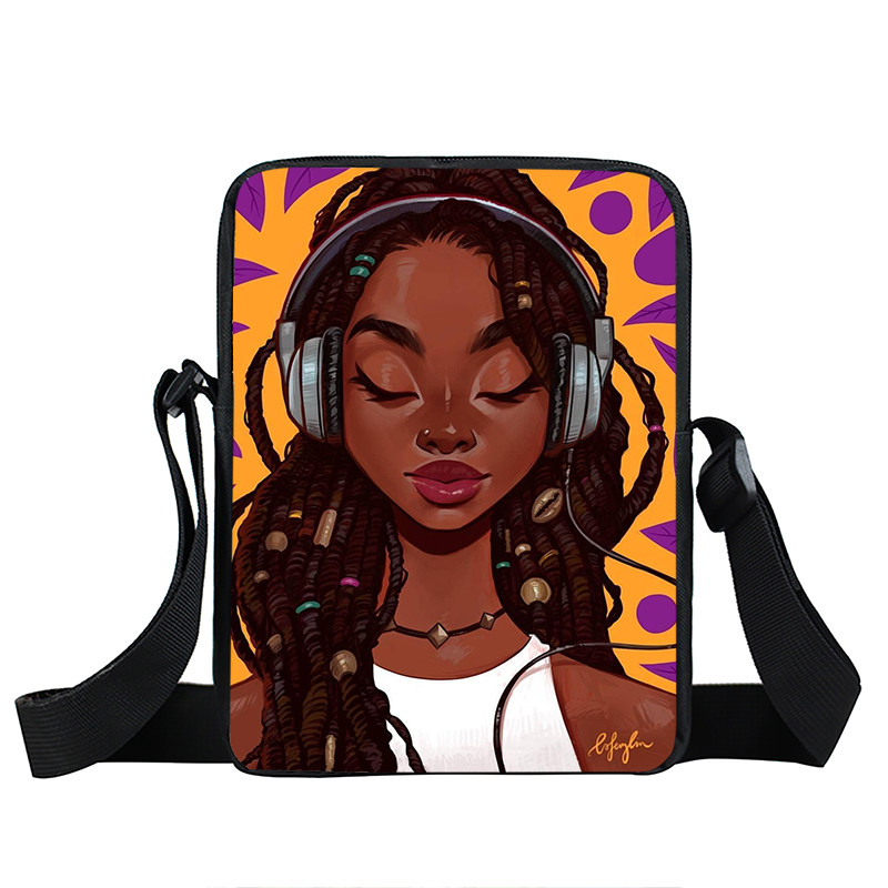 Afro Lady Girl messenger bag Africa Beauty Princess small shoulder bag brown women handbag mini totes teenager crossbody bags 28