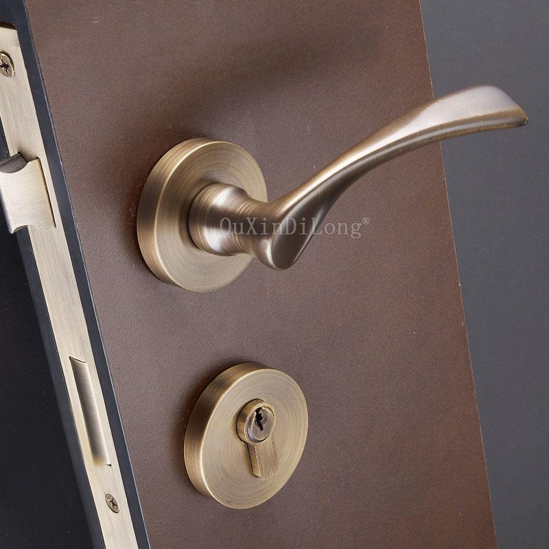 1 セット木製ドア分割ロック模造ゴールド内部ドアハンドルロック寝室ミュートロック 35 50 ミリメートルドア JF1971 -