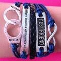 2014 nova América e Europa pop tecido envoltório pulseira link algemas BEST FRIEND corda cordão de couro wrap pulseira link