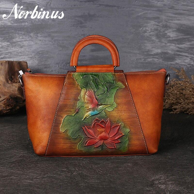 Norbinus Luxury Women Genuine Leather Handbag Real Cowhide Top Handle Bags Trapeze Totes Ladies Messenger Crossbody