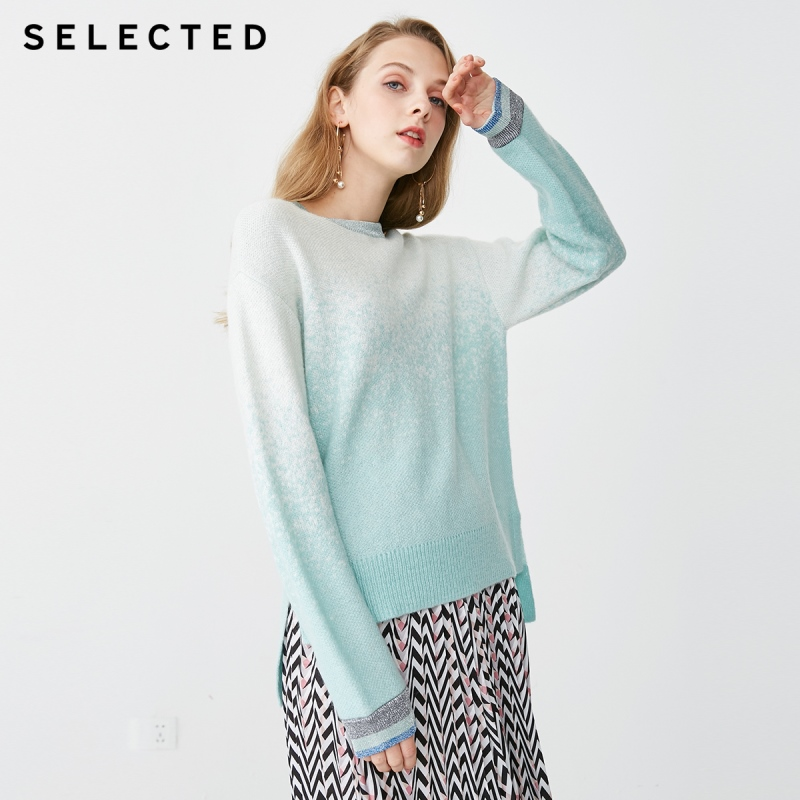 SELECTED Women s Bright Yarn Loose Fit Gradient Knitted Sweater S 419113503