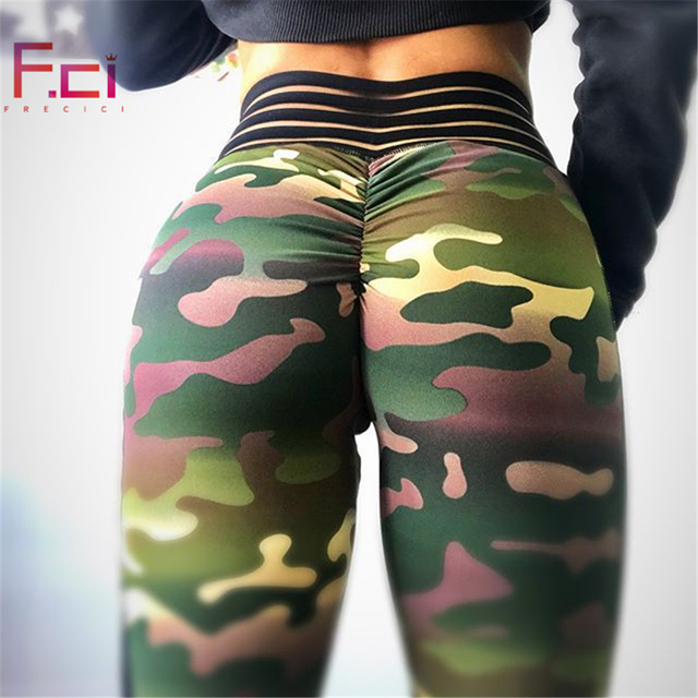 FRECICI Sexy Women Camouflage Leggings Scrunch Butt Leggings Stripe Waistband  Workout Fitness Push Up Camo Leggings Pants