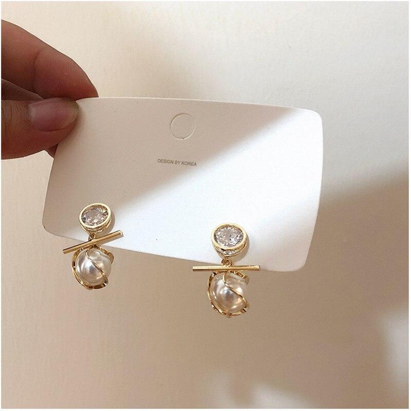 Korea Shiny Large Zircon Earring Irregular Baroque Pearl Earrings Vintage Sterling Silver Fashion Women's Ear Rings 2019 Jewelry