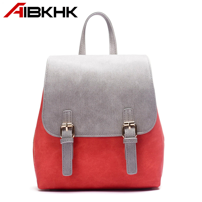 AIBKHK PU Leather Women Backpacks Fashion Popular College style Zipper Pocket Schoolbag Magnet Snaps Bagpack Travel bags gifts