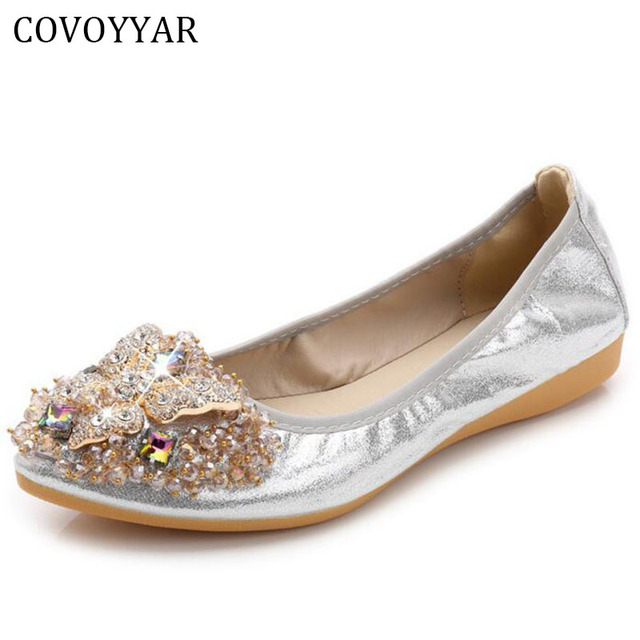 0a0e9057ddfb9e COVOYYAR 2019 Luxury Rhinestone Ballet Flat Shoes Women Spring Autumn  Butterfly Pointed Toe Golden Shoes Loafers Size 40 WFS740