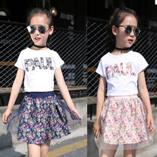 Girls Clothing Sets New Summer Fashion Style Cartoon Floral Printed T-Shirts+Net Veil Dress 2Pcs Girls Clothes Sets Casual Suit