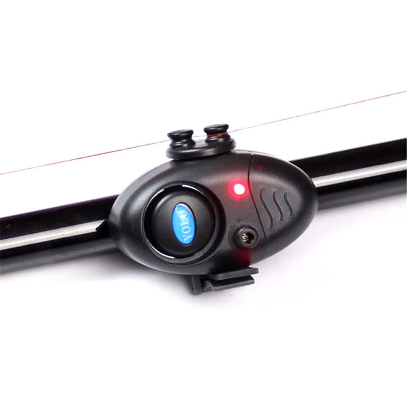 HOT Fishing Electronic LED Light Fish Bite Sound Alarm Bell Clip On Fishing Rod Black Tackle led flash light night electronic fishing bite alarm finder lamp double twin bells tip clip on fishing rod tackle new