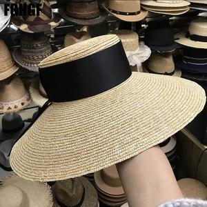 Image 3 - Natural Women Sun Hats Black Ribbon 9cm 13cm 15cm Flat Top Large Wide Brim Straw Hats Straw Hat Chapeu Sombrero Beach Hats