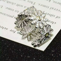 Classic hot selling pure silver micro ring 925 silver wide face small fresh yellow rhinestone ruffle chrysanthemum ring