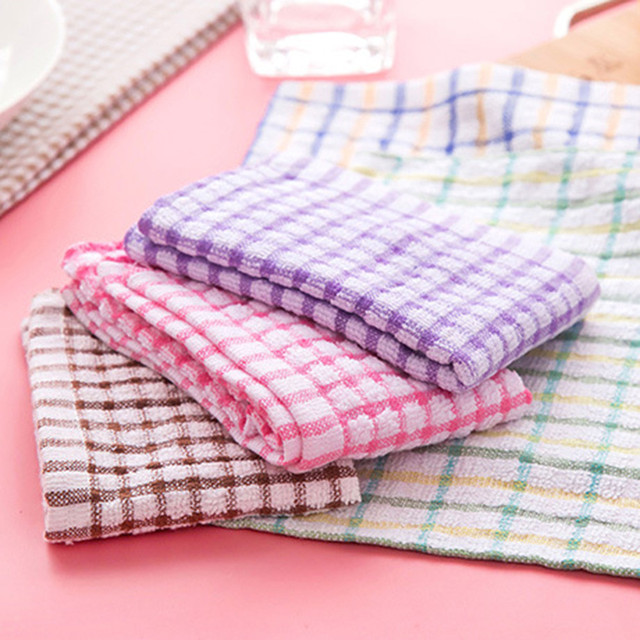 Absorbent Wash Cloth Car Kitchen Cleaning Microfiber Towels Cloths Solid Color Dish Towel