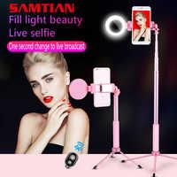 SAMTIAN Bluetooth 1,7 M Selfie Stick trípode con LED anillo relleno luz teléfono soporte monopié 360 rotación para Smartphone foto móvil
