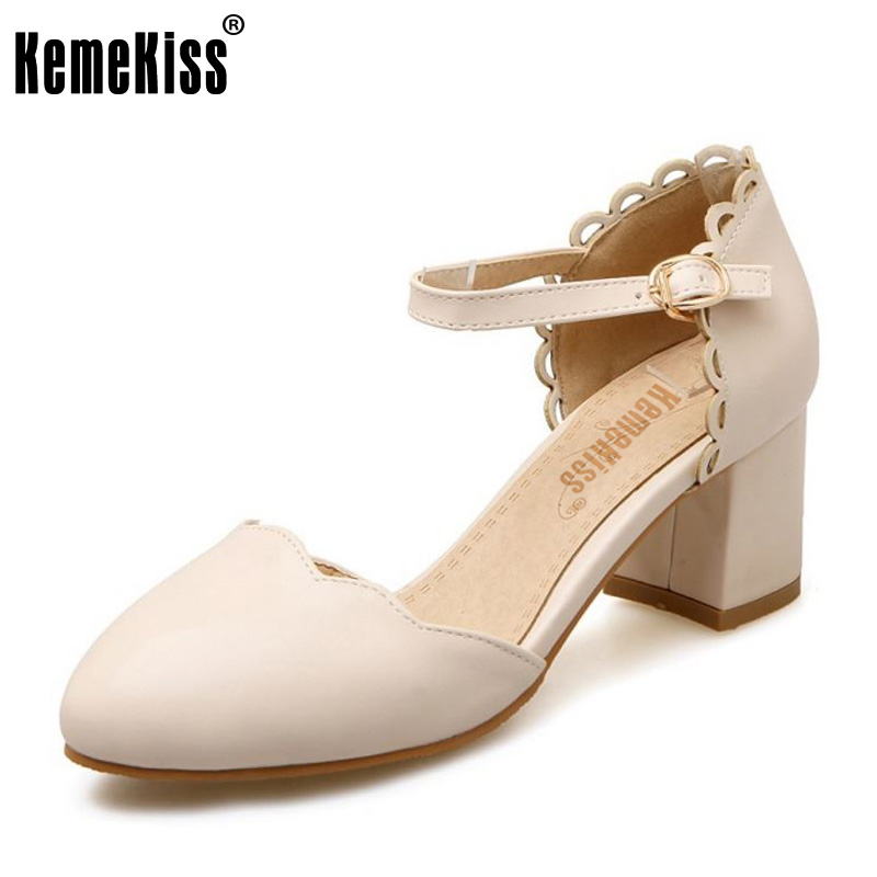 KemeKiss Size 32-43 Sweety Spring Shoes Women Thick High Heel Ruffles Sandals Women Ankle Strap Candy Color Dating Heels Shoes kemekiss size 31 45 women sweet high heel shoes women ruffle ankle strap thick heels pumps party daily work shoes women footwear