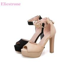 72cedbdecf Brand New Formal Apricot Preto Mulheres Sandálias Plataforma Super Alta de  Spike sapatos de salto alto Senhora Escritório Sapato.