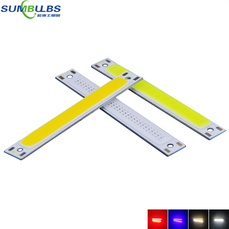 Sumbulbs 60x8mm 1W 3W Red Blue Cold Warm White COB Strip LED light Source Bar Lamp DIY Car Work Bicycle LED COB Lights DC 3-4V diy 3w 270lm 6500k white light flat strip led module 9 10v