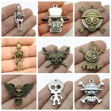 Skeleton Halloween Mix Human Pirate Decoration Charms For Jewelry Making Diy Craft Supplies Handmade Gift Friends