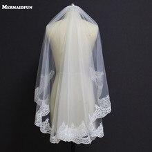 Новый частичное Кружево край один Слои Свадебная Фата с расческой вуаль Mariage короткие Кружево Фата для свадебного платья