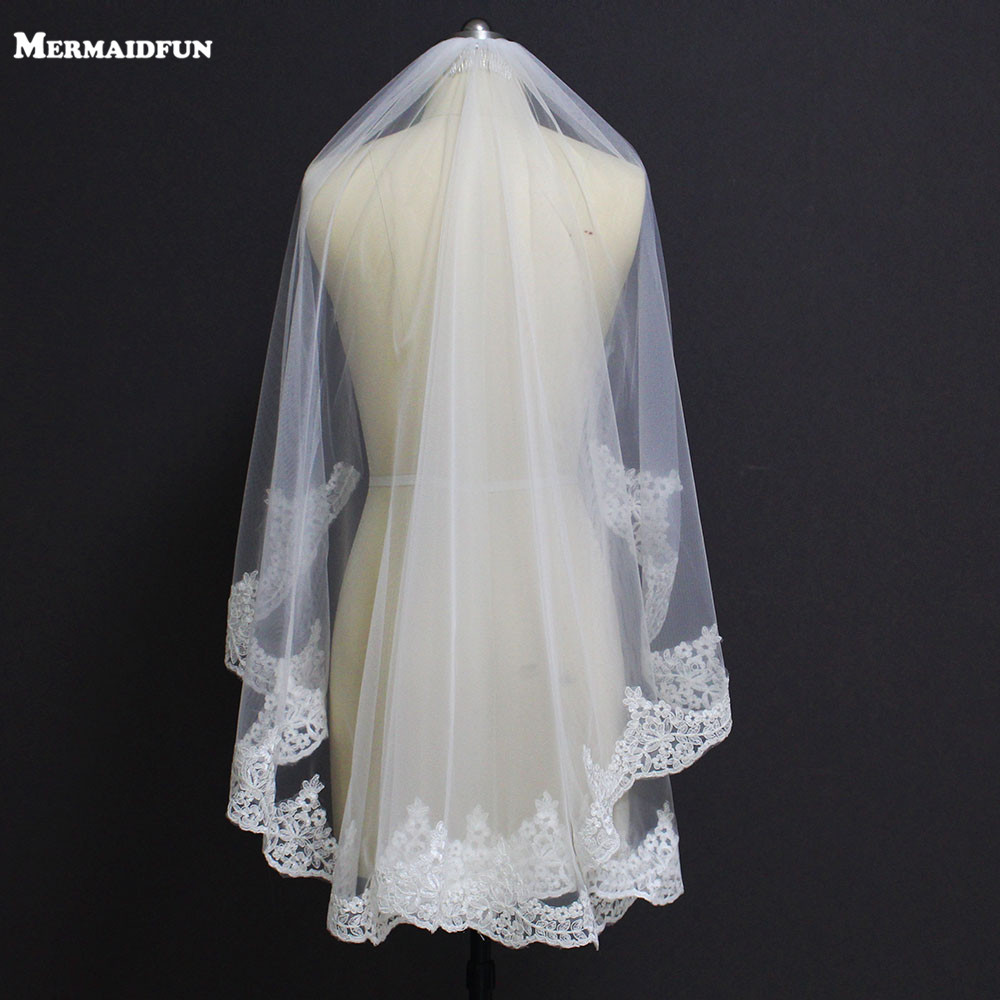 New Partial Lace Edge One Layer Wedding Veil With Comb Voile Mariage Short Lace Bridal Veil For wedding Dress