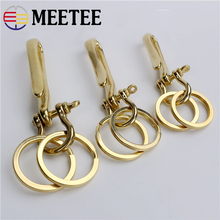 2pcs Meetee Pure Copper Solid Brass Key Ring Buckle  DIY Leather Craft Metal Accessories U Hook AP2389