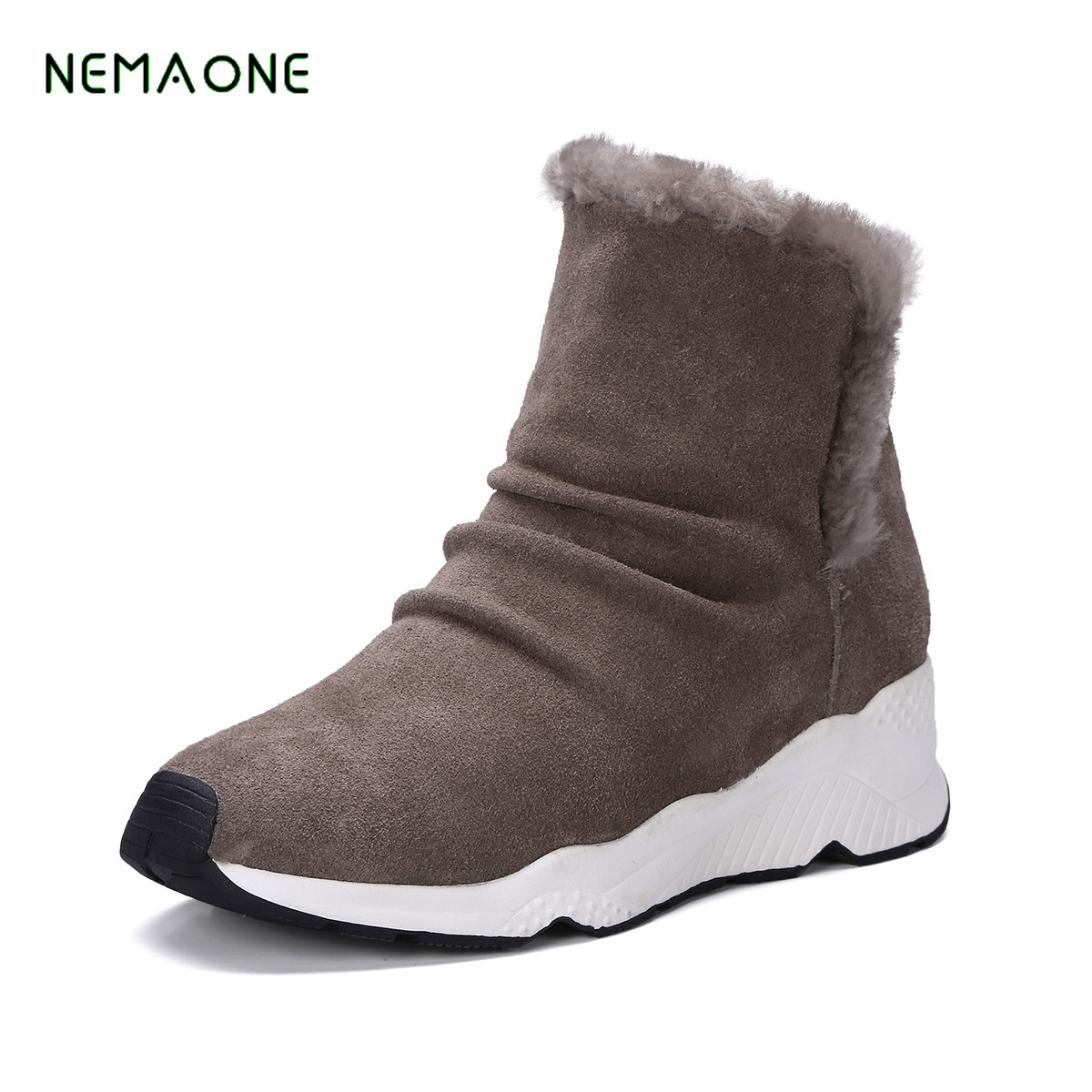 NEMAONE Mordern Women Winter Boots Genuine Leather Ankle Snow Boots Female Warm Fur Plush Insole High Quality Women Shoes