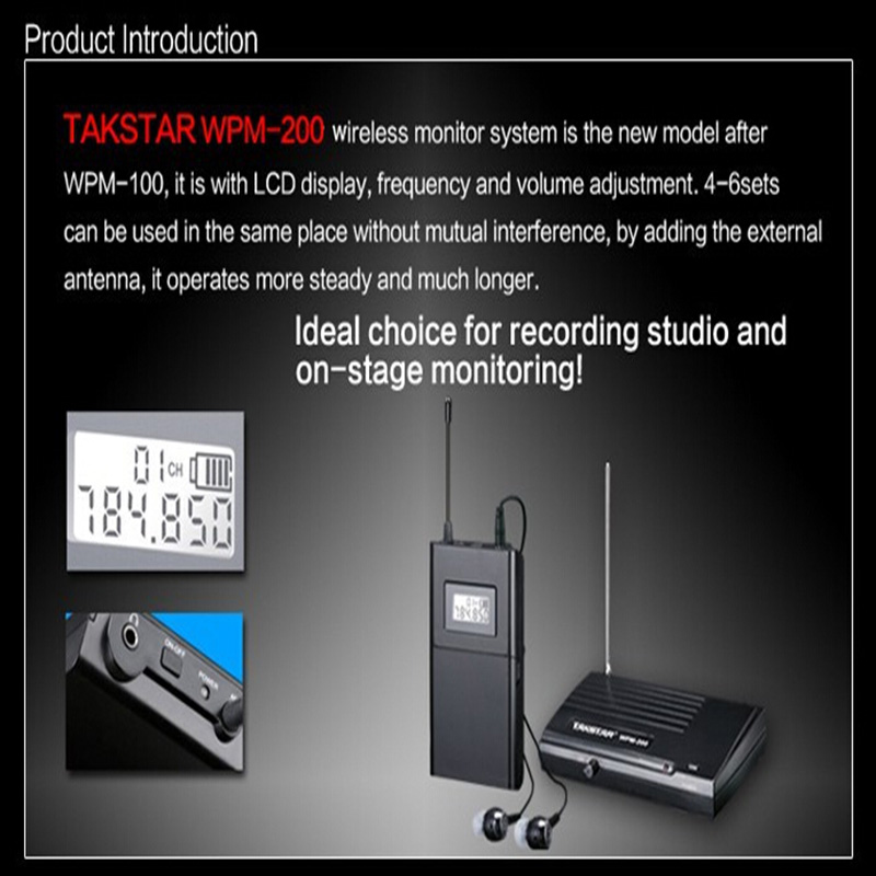 Free Shipping!Takstar Wpm-200 Wireless Monitor System In-Ear Stereo 1 Transmitter& 6 Receivers Stage Wireless Monitor System 2 receivers 60 buzzers wireless restaurant buzzer caller table call calling button waiter pager system