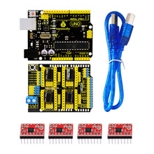 El envío gratuito! keyestudio 3d cnc cnc kit para arduino shield v3 + uno r3 + 4 unids a4988 conductor/grbl compatible