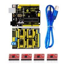 Livraison gratuite! Keyestudio CNC kit pour arduino CNC Bouclier V3 + UNO R3 + 4 pcs A4988 pilote/GRBL compatible