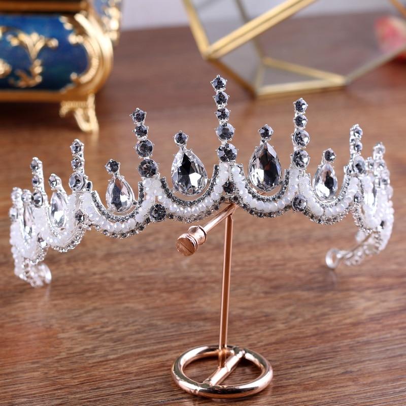 Classic Baroque Queen Tiara Crown Rhinestone Beaded Headband Hair Jewelry Wedding Bridal Headpiece Costume Women Headdress Gifts