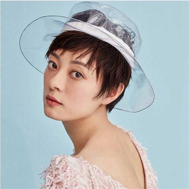 2018 Fashion Bucket PVC Transparent Hat For Women Summer Beach Sun Visor  Waterproof Rain Hat For Girls Ladie Decorative Caps 48bc7ba6778