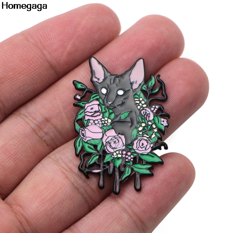 Homegaga Sphynx Cat Zinc alloy tie pins badges shirt bag clothes cap backpack shoes brooches badges medals decorations D1952 in Badges from Home Garden