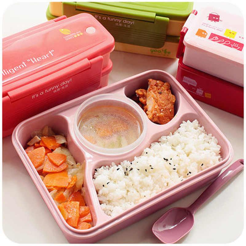 GODWJ ญี่ปุ่นน่ารักอาหารไมโครเวฟกล่องอาหารกลางวันเด็กการ์ตูนเด็กแบบพกพา Picnic Bento กล่องอาหาร