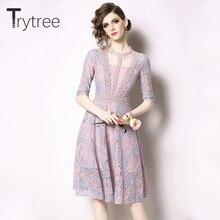 Trytree летнее романтическое цветочное Повседневное платье с круглым вырезом женские платья трапециевидной формы длиной до колена Шелковистое кружевное лоскутное Сетчатое розовое платье
