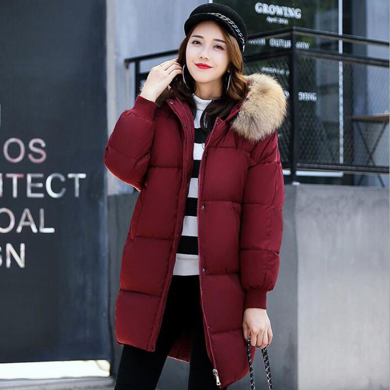 2017Winter Jacket Women Large Real Natural Raccoon Fur Collar Fashion Thick Warm Coat Outwear Parkas Female Cotton-Padded Hooded fashion 2017 women winter jacket warm fur hooded parkas female long casual cotton padded thickening winter coat outwear cm1412