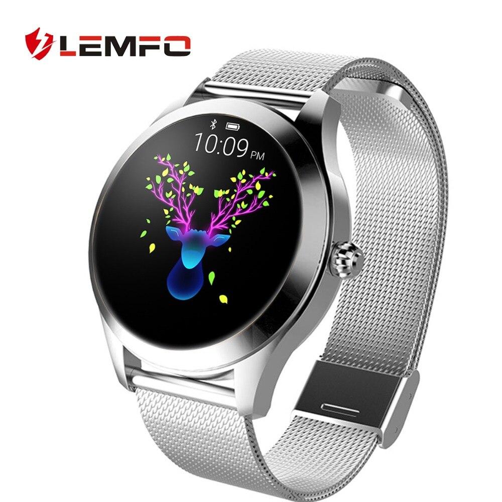 Femmes montre intelligente IP 68 moniteur de fréquence cardiaque Message rappel d'appel podomètre calories LEMFO Smartwatch femmes hommes pour Android IOS
