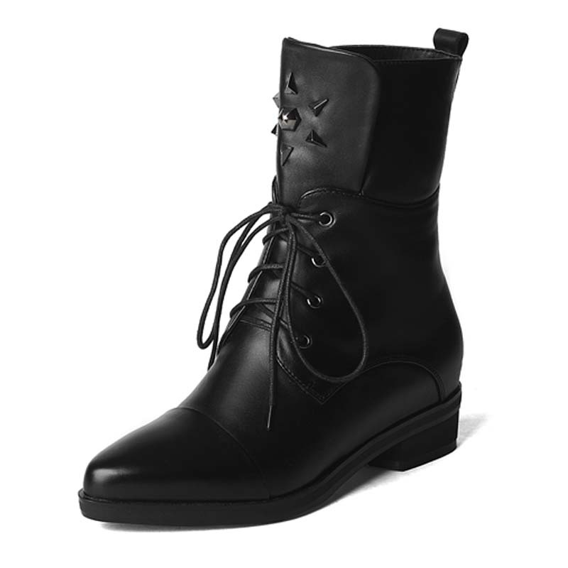 ФОТО Rivets ShoesWomen Pointed Toe Low Fashion Ankle Boots ForWomen high quality Leather Boots Lace-Up Wintermotorcycle boots